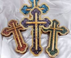 wooden cross wall hanging small big natural charm stones happiness love joy icon