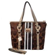 Coach Logo In Signature Medium Coffee Totes BES Outlet Online