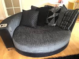 2 piece sofa set in black grey and silver 3 seater sofa round
