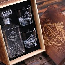 personalised scotch whisky decanter w 2 whisky glasses monogrammed customised