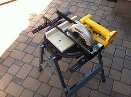 circular saw table mount. pups turns a circular saw into miter saw. table mount
