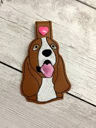 Dog Key Fob Embroidery Designs In The Hoop Basset Hound Dog Head Key Fob Embroidery Machine Design