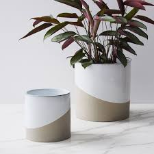 half dipped planters white