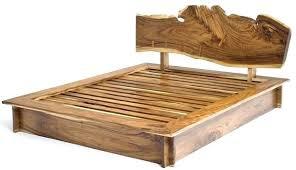 Natural Wood King Size Bed Frame Rustic Bedroom Furniture Log ...