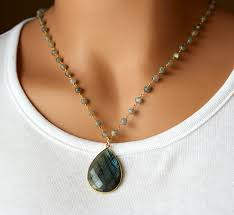 blue flash labradorite pendant necklace grey rosary style gemstone pendant flash labradorite pendant gold vermeil bygerene