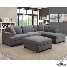 fabric sectional sofas. Kellen 3 Piece Grey Fabric Sectional Sofa With Ottoman And 2 Accent Pillows, Right- Sofas