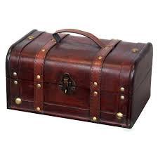 vintiquewise decorative wood treasure box wooden trunk chest