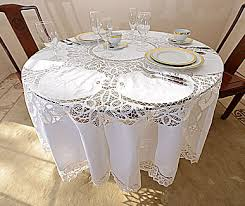 luxury round tablecloth battenburg lace 70 90 inch white all cotton uk size target 120