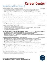 Example Accomplishment Statements Duke University Career Center
