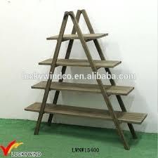 amazing folding display shelf 4 tier wooden ladder wood metal