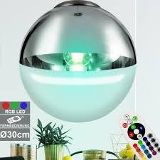 Leuchte Decken Silber Kugel Bunt Lampe Hänge Led Rgb Glas