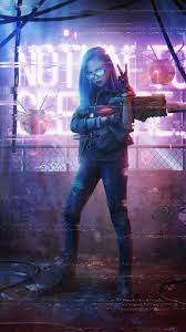 Neon Girl with Gun iPhone Wallpaper ...