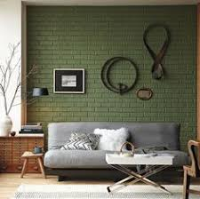 Grey couch & Green Brick Wall, Residential Interior Design I love brick  inside a home so beautiful