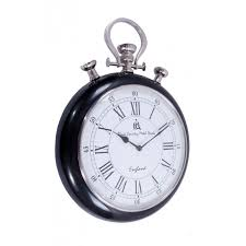 pocket watch wall clock with white face and black surround