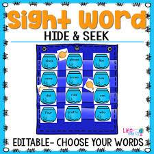 Sight Word Editable Hide Seek Pocket Chart Cards Fishbowl Theme