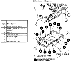 solved ford taurus engine diagram fixya oil pan bolt removal sequence 2000 04 3 0l vin s engine