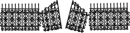 broken fence png. Contemporary Broken Iron Fence With Broken Gate With Png D