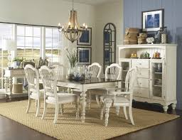 pine island 7 pc dining set with wheat back chairs old white