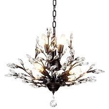seol light chandeliers vintage crystal branch black ceiling pendant light flush