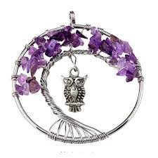 <b>FYJS Unique</b> Silver <b>Plated</b> Wire Wrap Tree of Life with Owl Natural ...