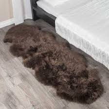 double espresso brown sheepskin rug 2 pelt 2x6 ft