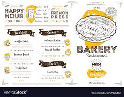 To Go Menu Templates Restaurant Cafe Bakery Menu Template Royalty Free Vector