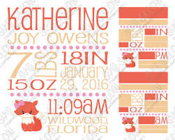 Baby Girl Birth Announcements Template Free Download Baby Girl Fox Birth Announcement Template Svg Cut File Set