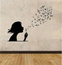 Small Picture Girl Blowing Music Notes Vinyl Wall Decal Sticker Art Decor