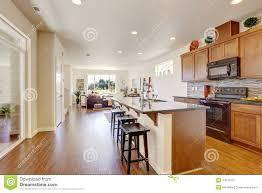House Interior With Open Floor Plan Kitchen Room Wiht Island - Open floor plan kitchen