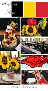 Southern Blue Celebrations Summer Wedding Sunflowers Red Roses