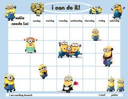Minion Behavior Chart Personalized Childrens Reward Chore Chart Minion Men In