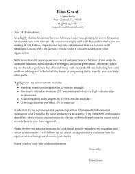 Best Sales Customer Service Advisor Cover Letter Examples Ideas Of