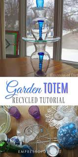 these garden art totems and bird baths are easy to make using various household dishes and