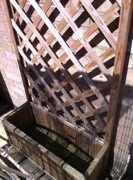 timber planter with trellis back for garden or patio