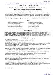 Cv Marketing Communications Manager Resume Marketing Sales