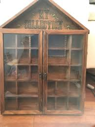 vintage wood shadow box w glass doors 25 compartments for in manchester nh offerup