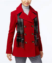 london fog petite double ted peacoat with plaid scarf