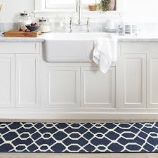 impressive dark blue kitchen rugs with scroll tile kitchen rug blue williams sonoma