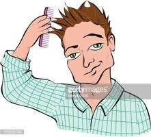 combing hair clipart.  Clipart Man Combing Hair On Combing Hair Clipart
