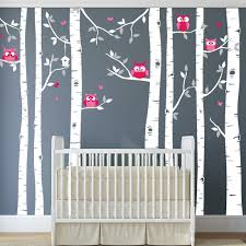 birch tree wall decal with owls butterflies and birdhouse on silver birch wall art stickers with birch tree wall decal with owls butterflies and birdhouse in an