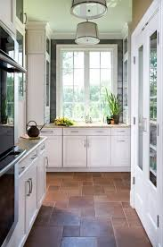 Concept Kitchen Tile Flooring White Cabinets Design Ideas With Brown Stone Tiles Floors And Modern