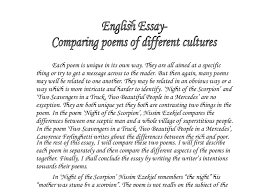 comparing poems of different cultures gcse english marked by  document image preview