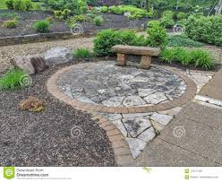 Design A Rock Rock Garden Design With Bench And Plants Stock Image Image