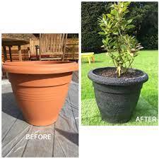 plastic plant pot sprayed with stone