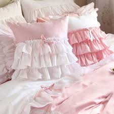 pink ruffle pillow. Simple Ruffle White Pink Ruffle Cushion Cover With Pillow G