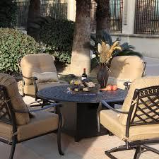 darlee sedona 5 piece cast aluminum patio fire pit conversation seating set antique bronze