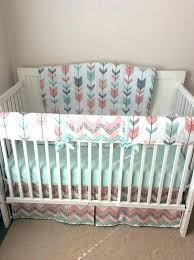 peach fl crib bedding nursery c set baby girl sets and grey arrow sheet mint gray arrows