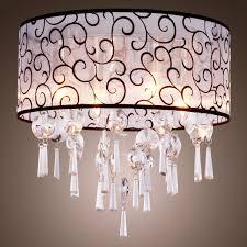 elegant transpa crystal chandelier pendant light with 4 lights drum flush mount modern ceiling light fixture for bedroom living room