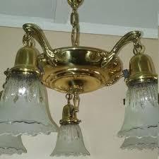 antique brass pan chandelier 5 arm original shades rewired very nice condition 1920s