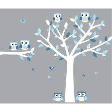 blue and white owl decals with nursery tree decals for boys rooms
